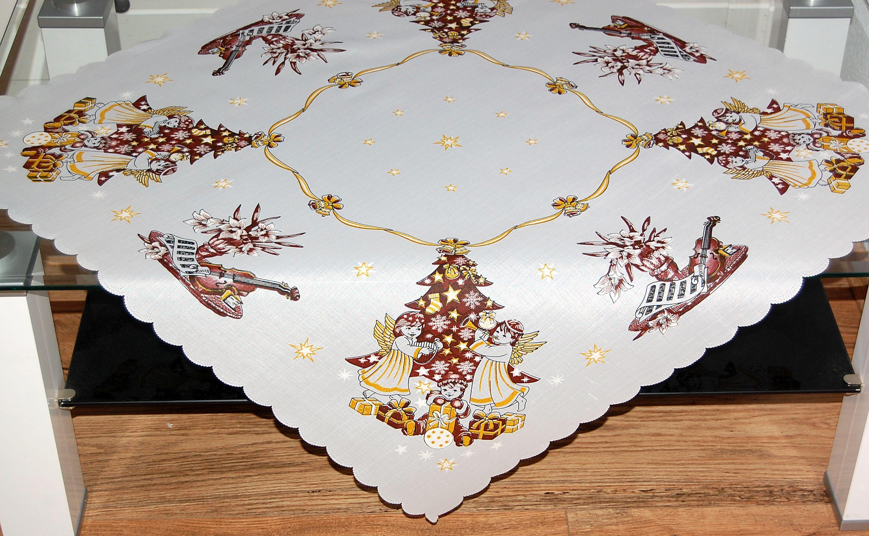 tischdecke 85x85 cm weihnachten engel tanne braun gold weihnachtsdecke b gelfrei ebay. Black Bedroom Furniture Sets. Home Design Ideas