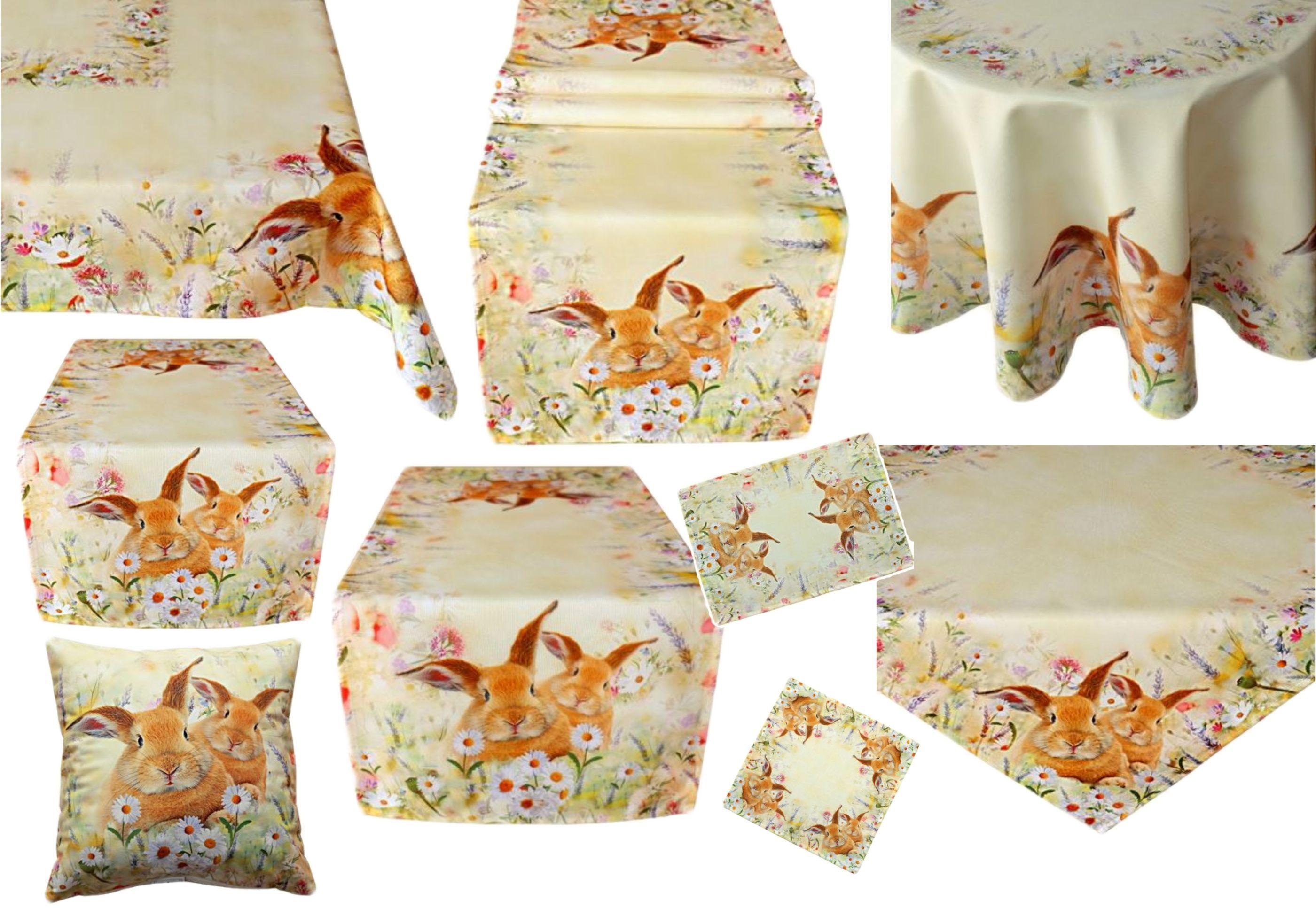 Ostern Tischdecke  Hase braun gelb natur  85x85 cm