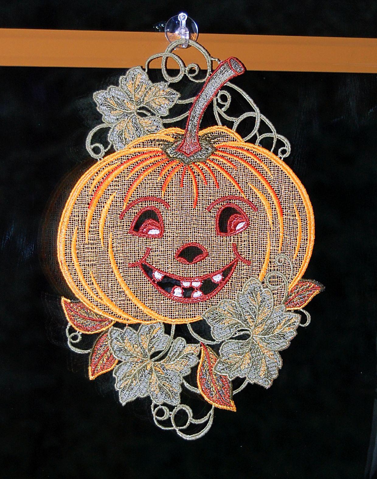 fensterbild 21x28 cm saugnapf plauener spitze k rbis orange halloween herbst ebay. Black Bedroom Furniture Sets. Home Design Ideas