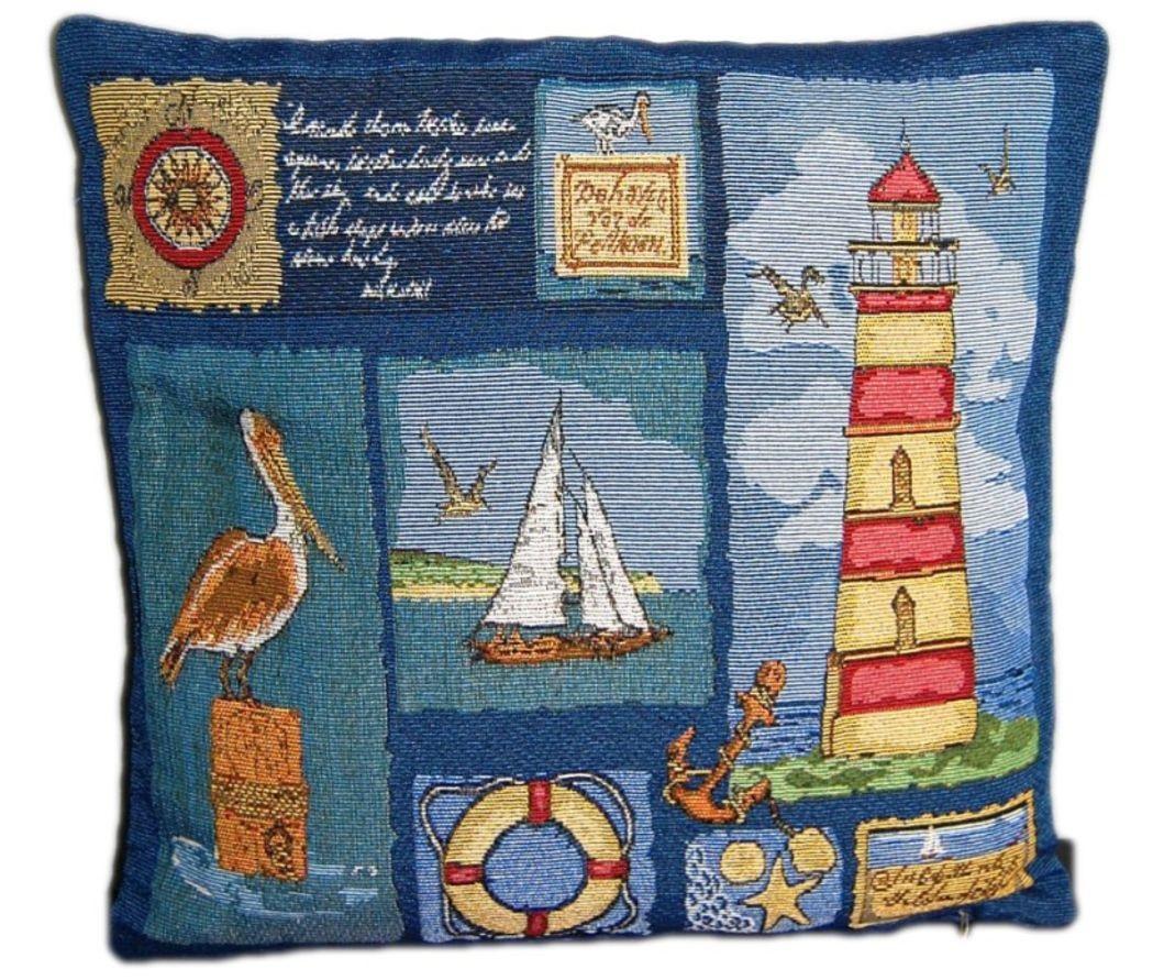 Kissenhülle 40 X 40 Cm Gobelin Leuchtturm Maritim Sofakissen Kissen Nautik  Blau