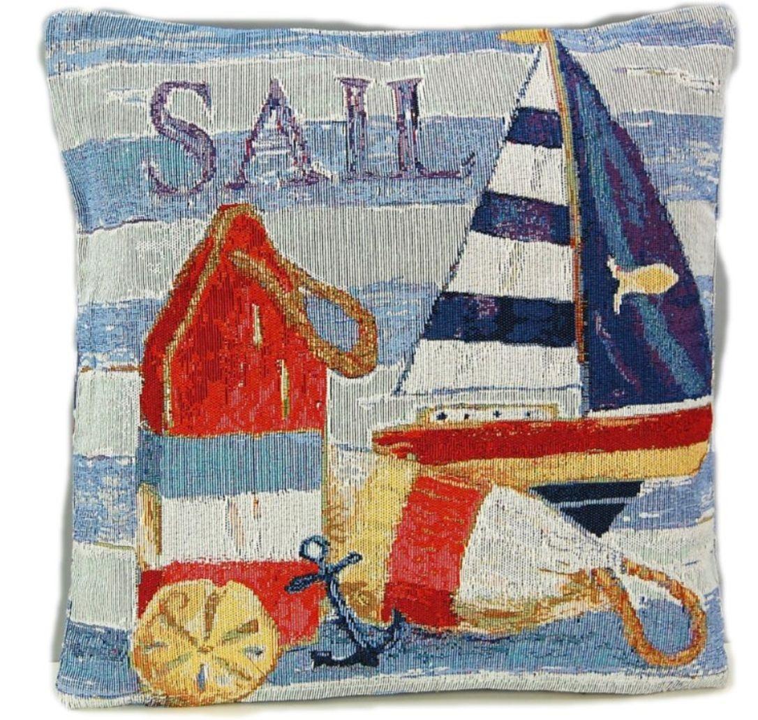 Kissenhülle 40 X 40 Cm Gobelin Maritim Sofakissen Boje Kissen Nautik Sail  Blau