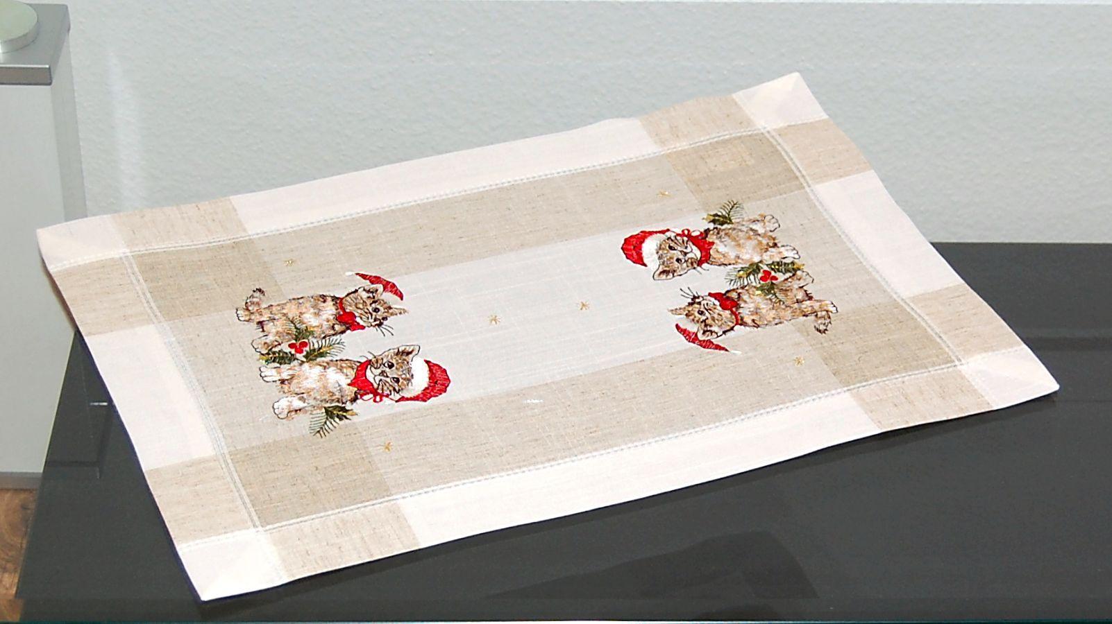 Tischdecke WEIHNACHTEN Katze m. Mütze Weihnachts-Decke Tisch-Läufer ...