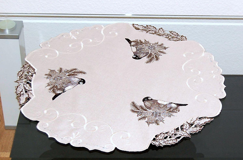 Tischdecke WEIHNACHTEN Winter Vogel Silber Decke Läufer Weihnachts ...