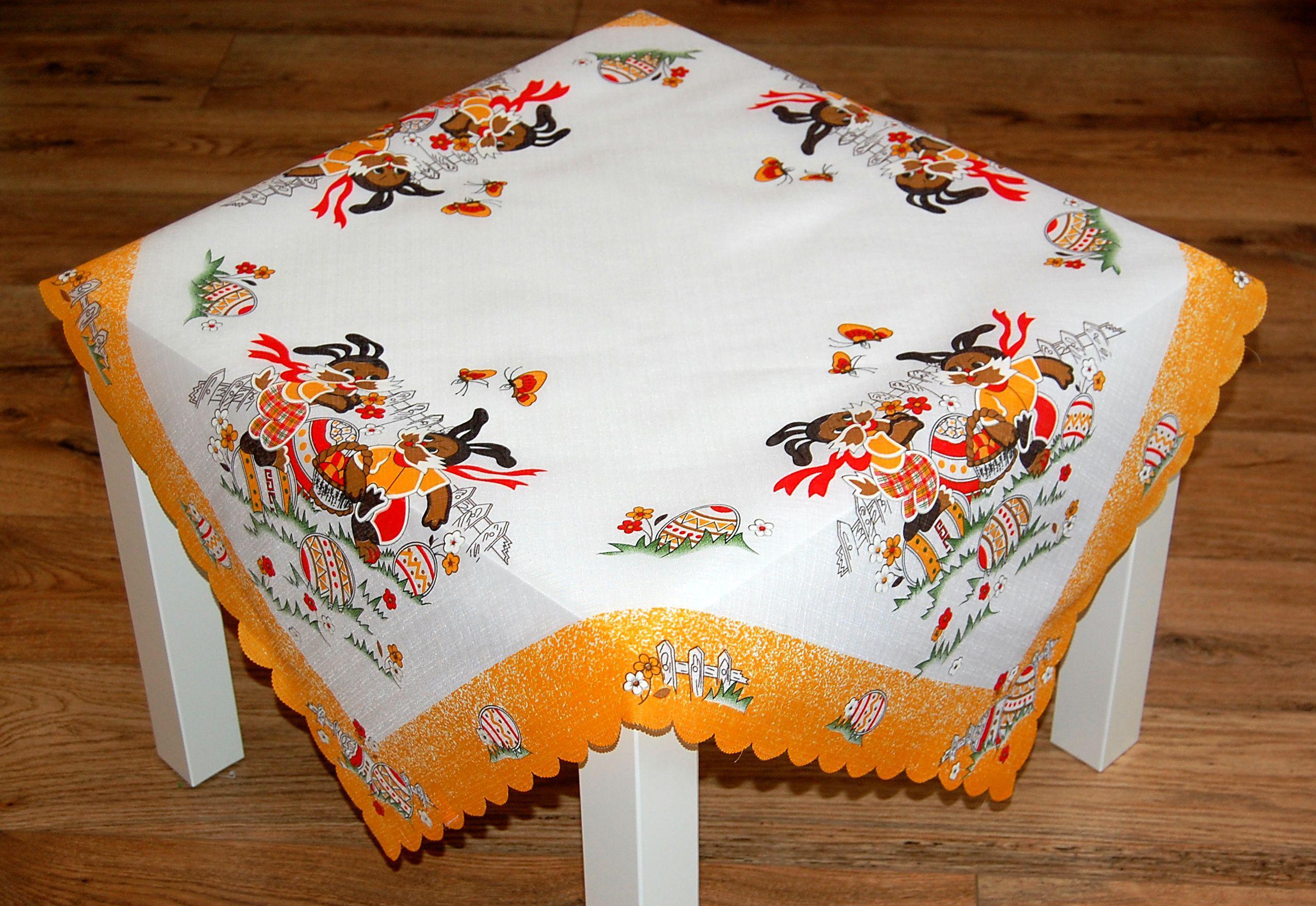 tischdecke 85x85 cm ostern wei osterhasen bunt osterdecke ostertischdecke ebay. Black Bedroom Furniture Sets. Home Design Ideas