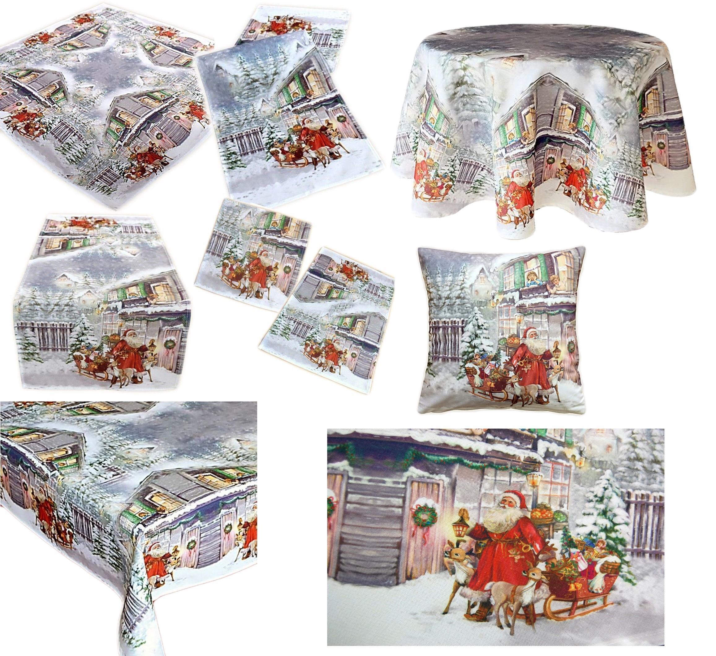 Tischdecke Weihnachten Pflegeleicht Weihnachtsmann Tischläufer Kissenhülle Decke