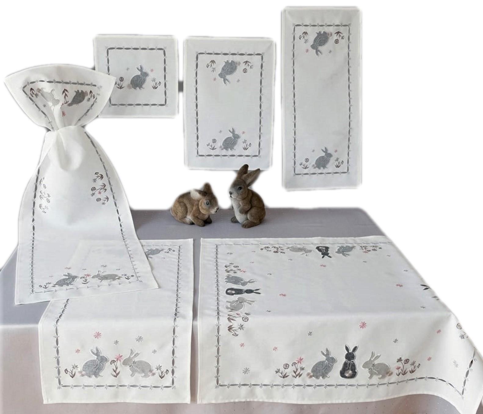 Mitteldecke Ostern Wollweiß Hühner Tischläufer Stickerei in Grau Tischdecke