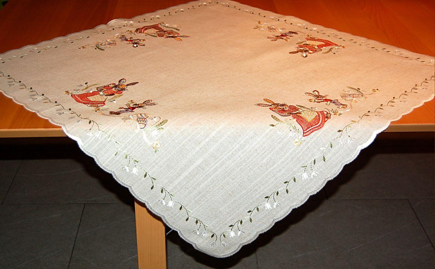 tischdecke 84x84 cm plauener spitze ostern leinenoptik. Black Bedroom Furniture Sets. Home Design Ideas
