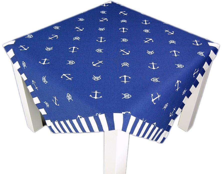anker maritim dunkelblau wei streifen tischdecke. Black Bedroom Furniture Sets. Home Design Ideas