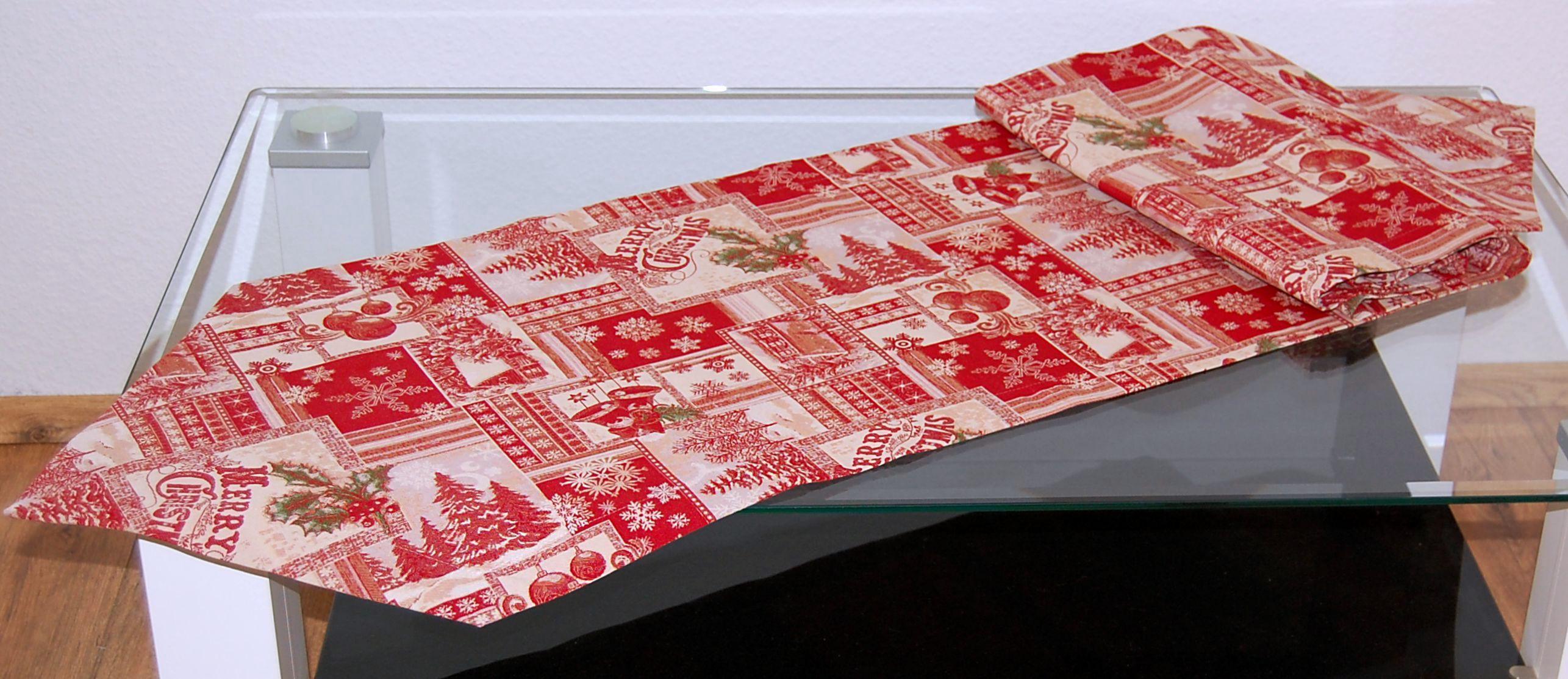 tischdecke gobelin weihnachten merry christmas rot wei tischl ufer kissenh lle ebay. Black Bedroom Furniture Sets. Home Design Ideas