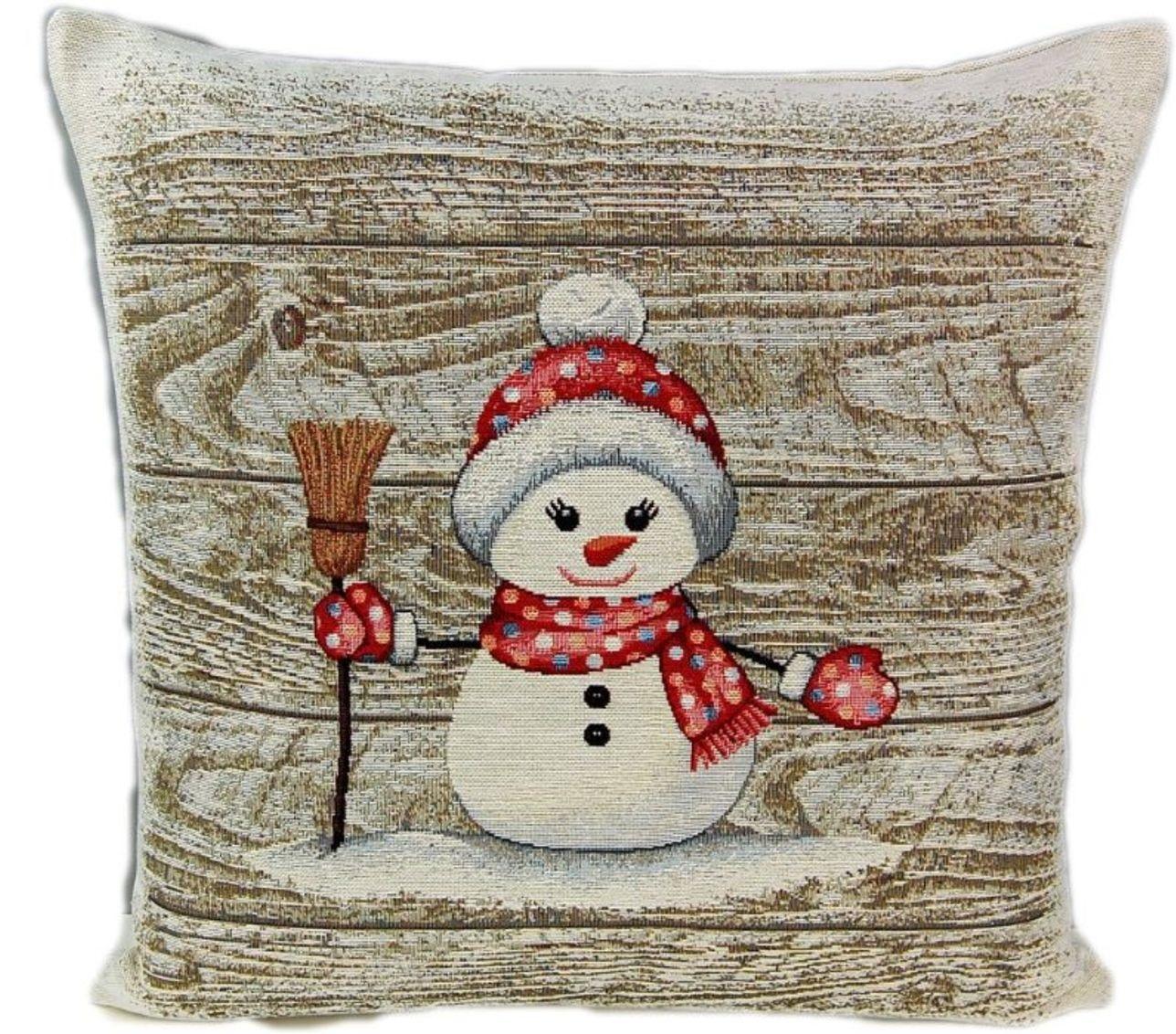 Kissenbezug Sofakissen Kissenhülle Hülle 45x45 Gobelin Weihnachten  Schneemann