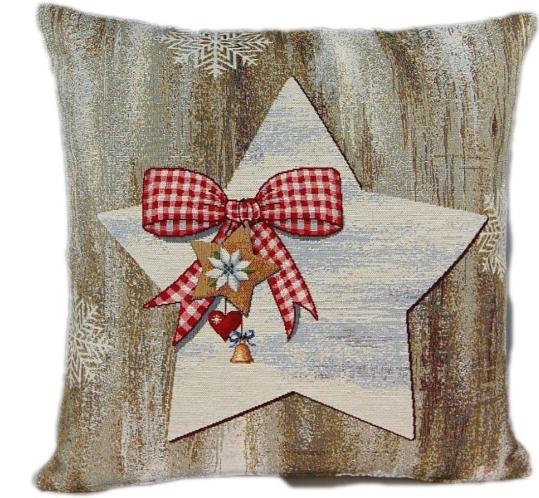 Kissenbezug Sofakissen Kissenhülle Bezug Hülle 45x45 Gobelin Weihnachten  Stern