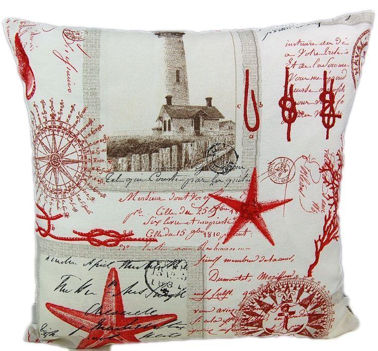 Schon Kissenhülle Maritim 45 X 45 Cm Leuchtturm Rot Sofakissen Baumwolle Kissen  Nautik