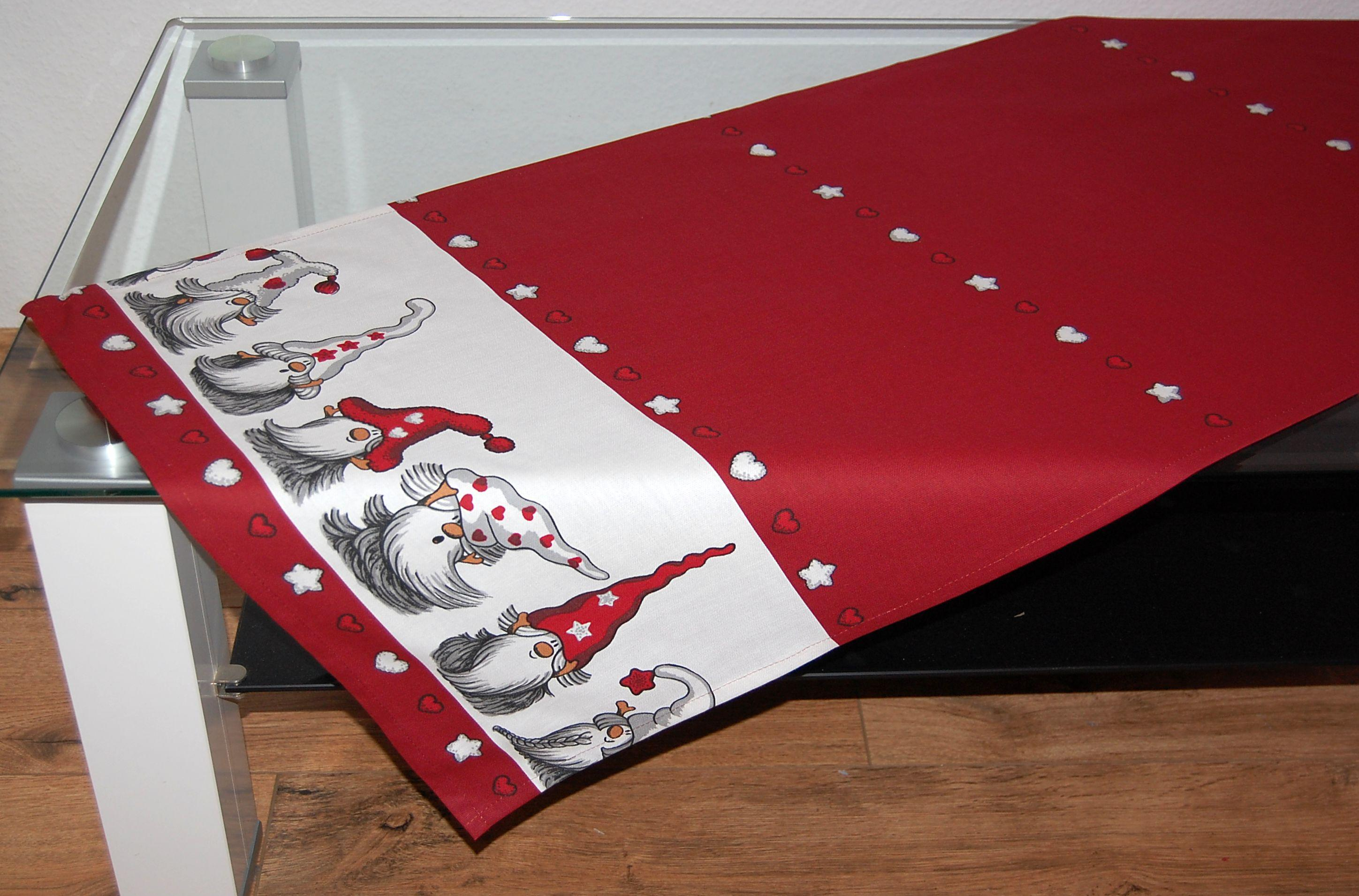 tischdecke weihnachten kleine wichtel rot grau tischl ufer kissenh lle l ufer ebay. Black Bedroom Furniture Sets. Home Design Ideas