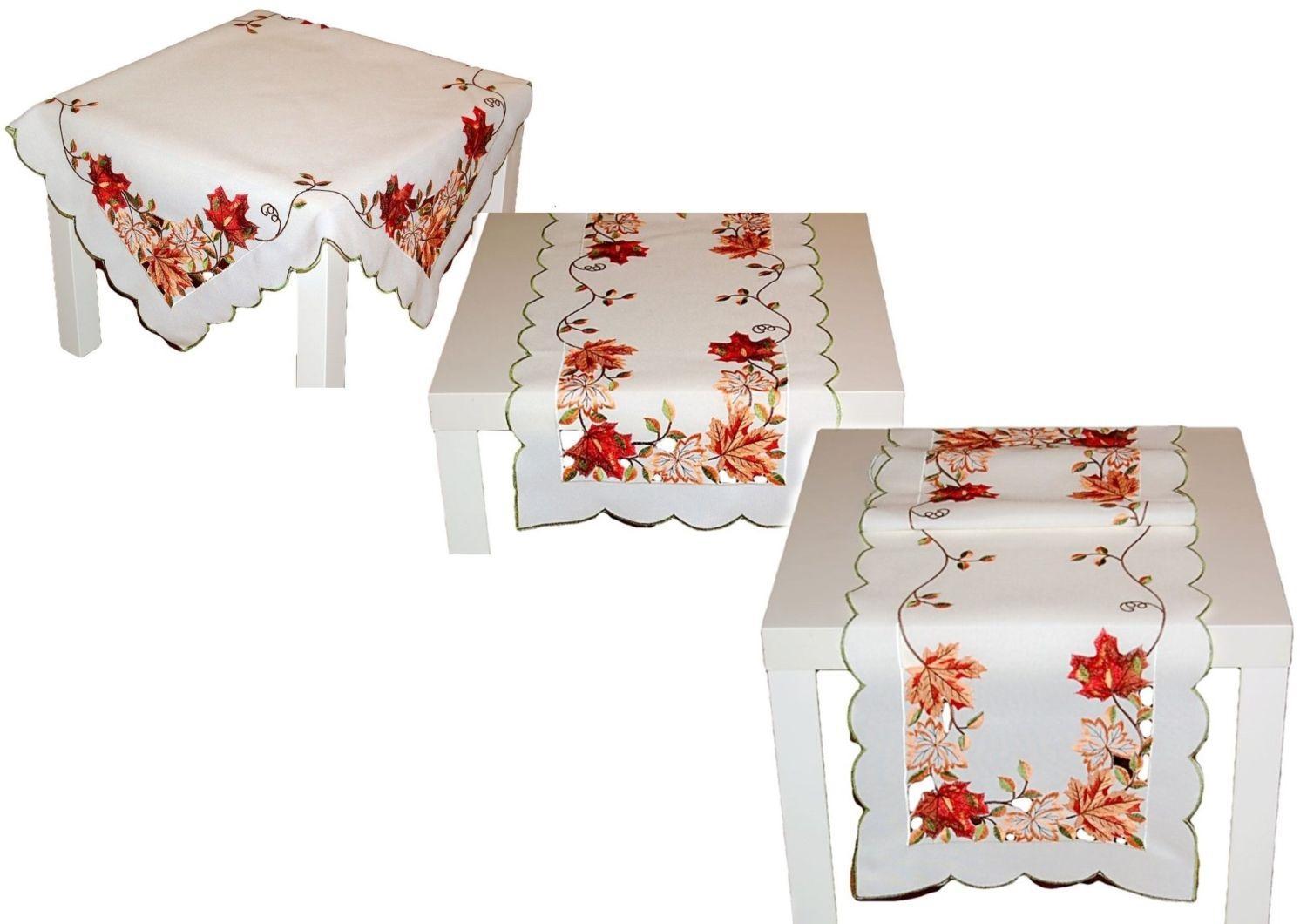 tischdecke leinenoptik herbst wei bl tter bunt gestickt. Black Bedroom Furniture Sets. Home Design Ideas