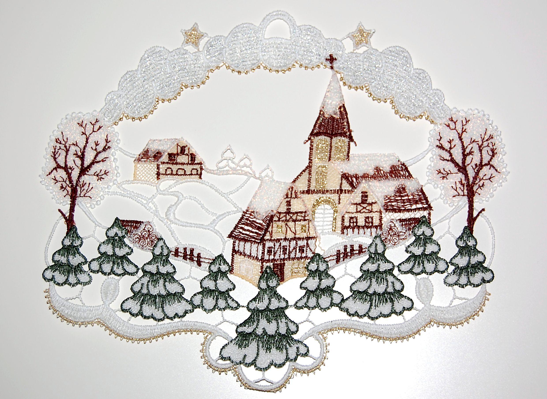 PLAUENER SPITZE ® Fensterbild WEIHNACHTEN Rehe WINTERLANDSCHAFT Winter WALD Deko