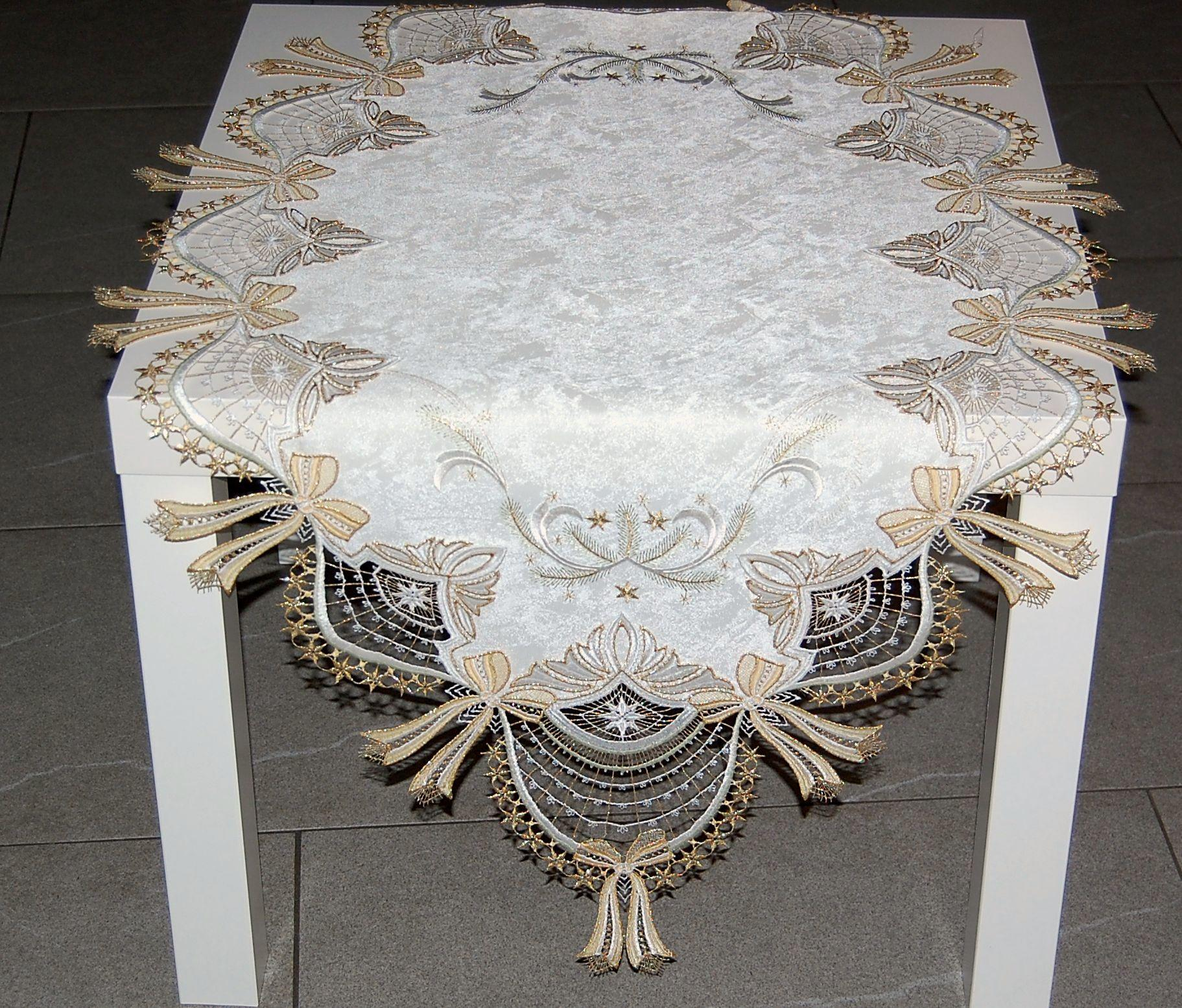 tablecloth christmas plauen lace bow beige gold table. Black Bedroom Furniture Sets. Home Design Ideas
