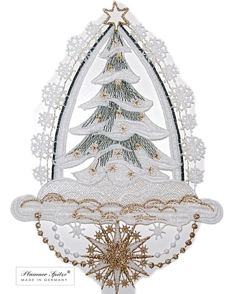 Spitze Für Tannenbaum.Fensterbild 17x23 Cm Plauener Spitze Weihnachten Tannenbaum Grün