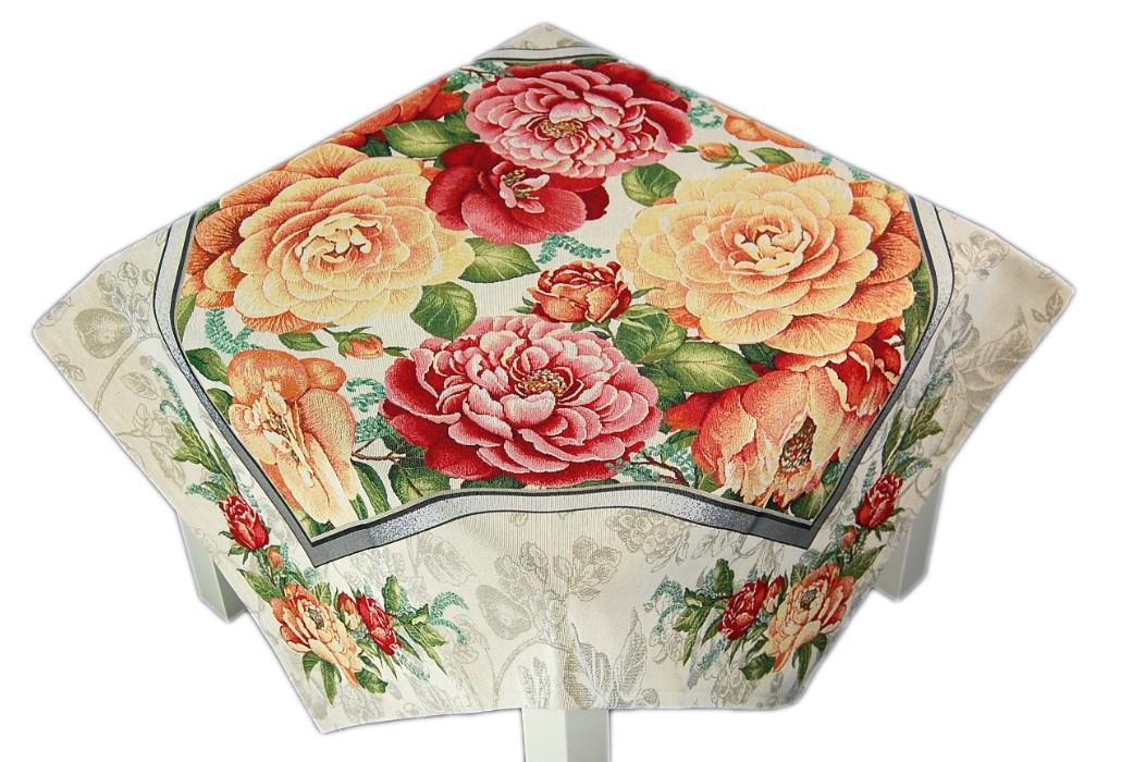 tischdecke gobelin beige bauernrosen apricot tischl ufer. Black Bedroom Furniture Sets. Home Design Ideas