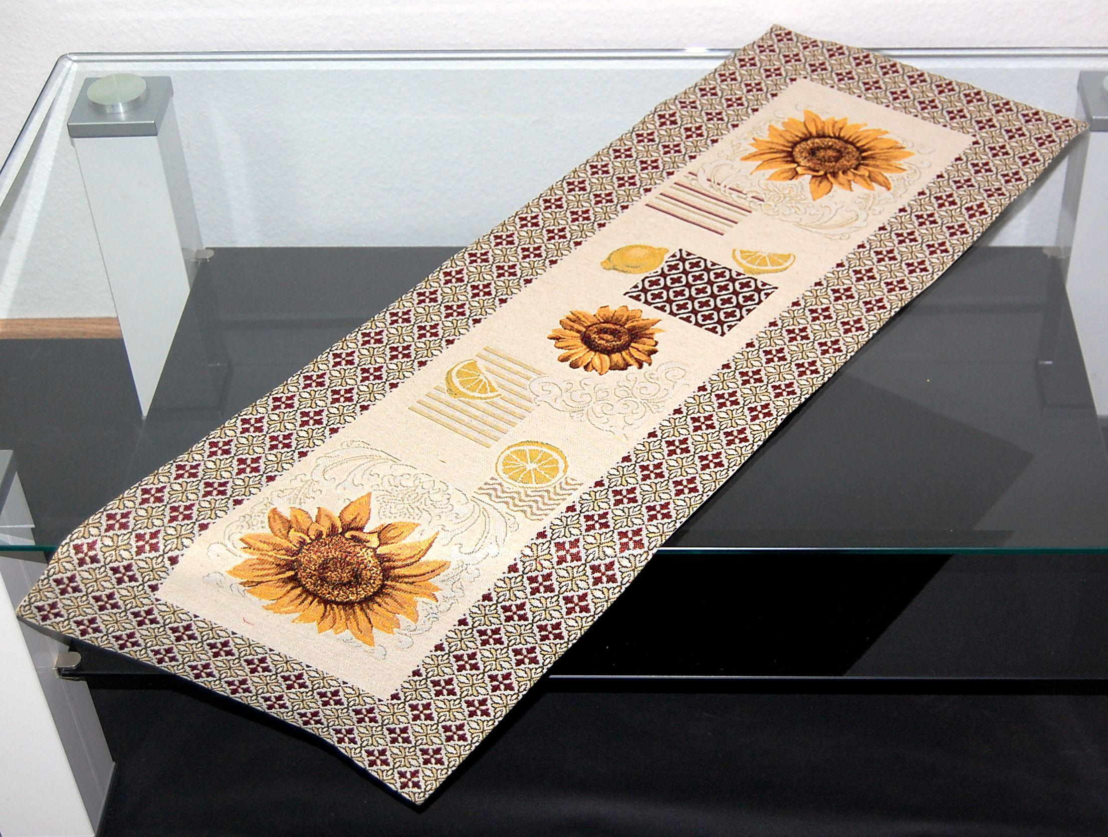 tischdecke gobelin beige weinlaub trauben bunt tischl ufer. Black Bedroom Furniture Sets. Home Design Ideas