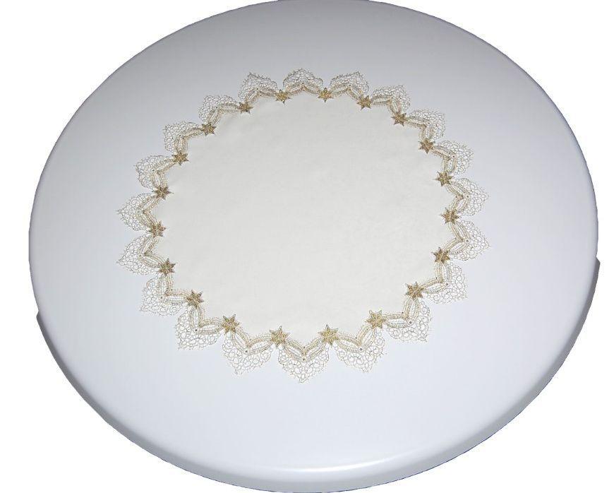 tischdecke sekt plauener spitze sterne gold weihnachten tischl ufer kissen ebay. Black Bedroom Furniture Sets. Home Design Ideas