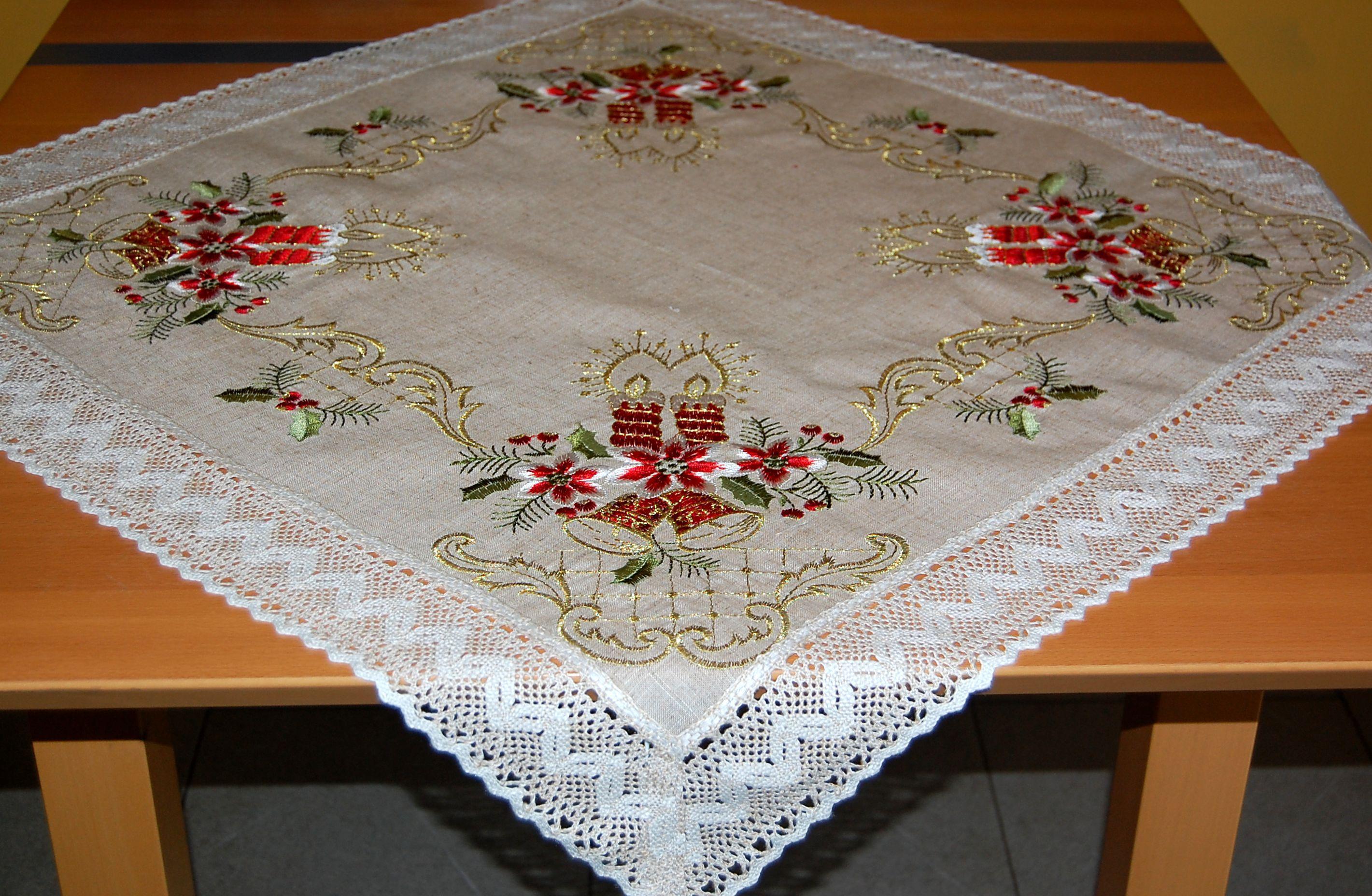 Tischdecke 85x85 cm WEIHNACHTEN rustikal beige Klöppelspitze Kerze ...