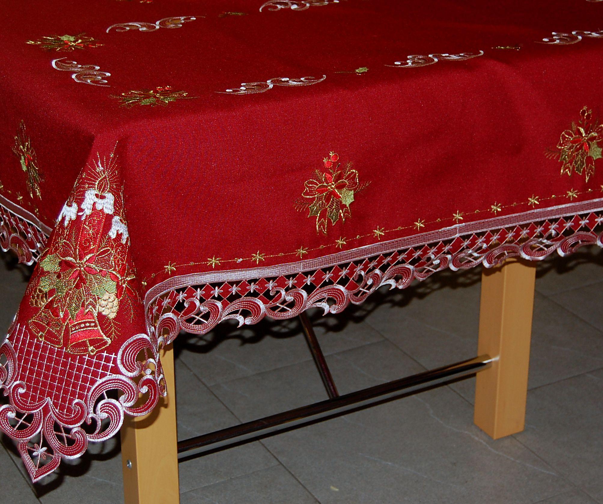 tischdecke weihnachten weinrot 3 kerzen rot gold. Black Bedroom Furniture Sets. Home Design Ideas