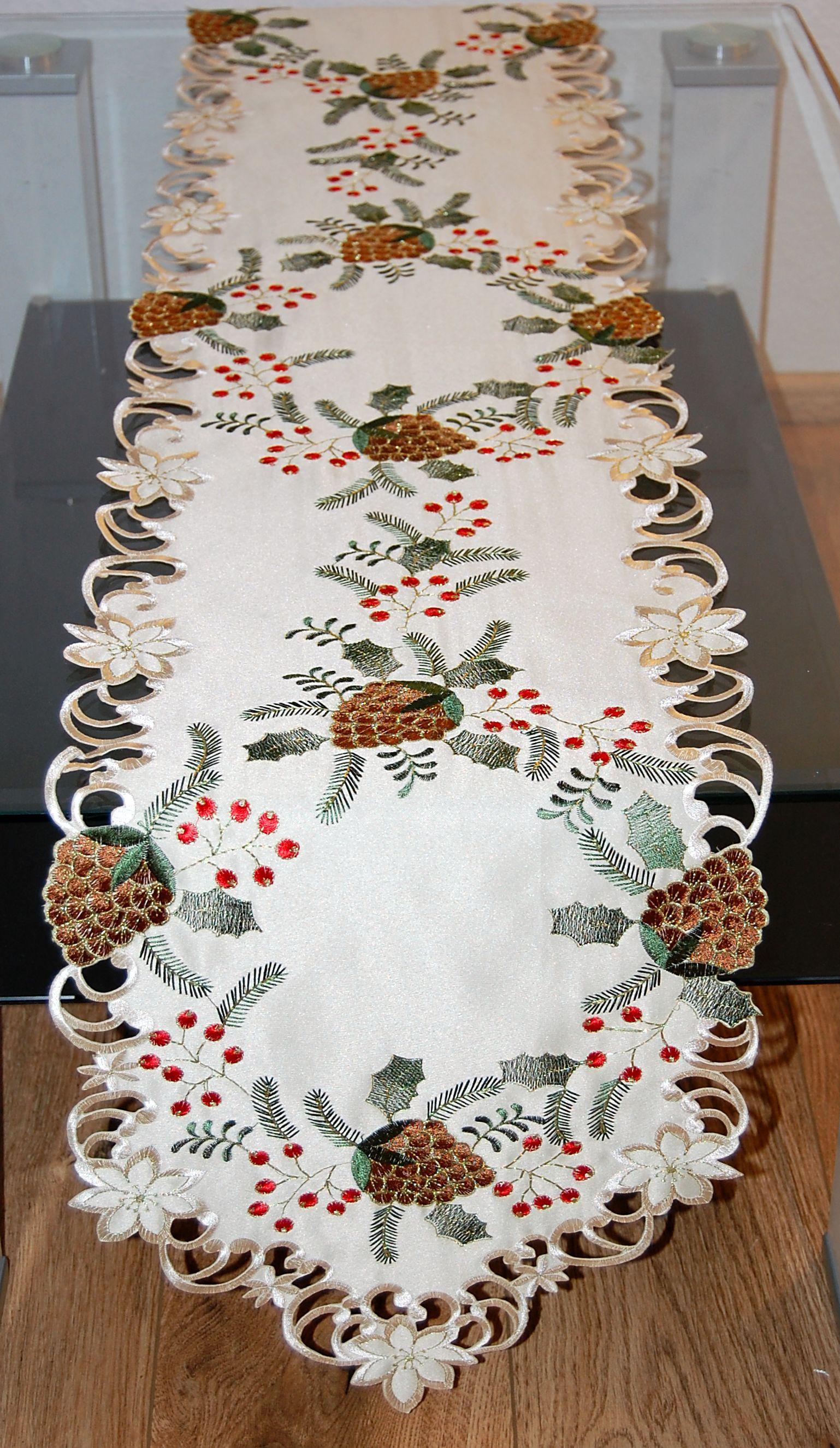 tischdecke weihnachten tannenzapfen tischl ufer weihnachtsdeko tischband 33x180 ebay. Black Bedroom Furniture Sets. Home Design Ideas