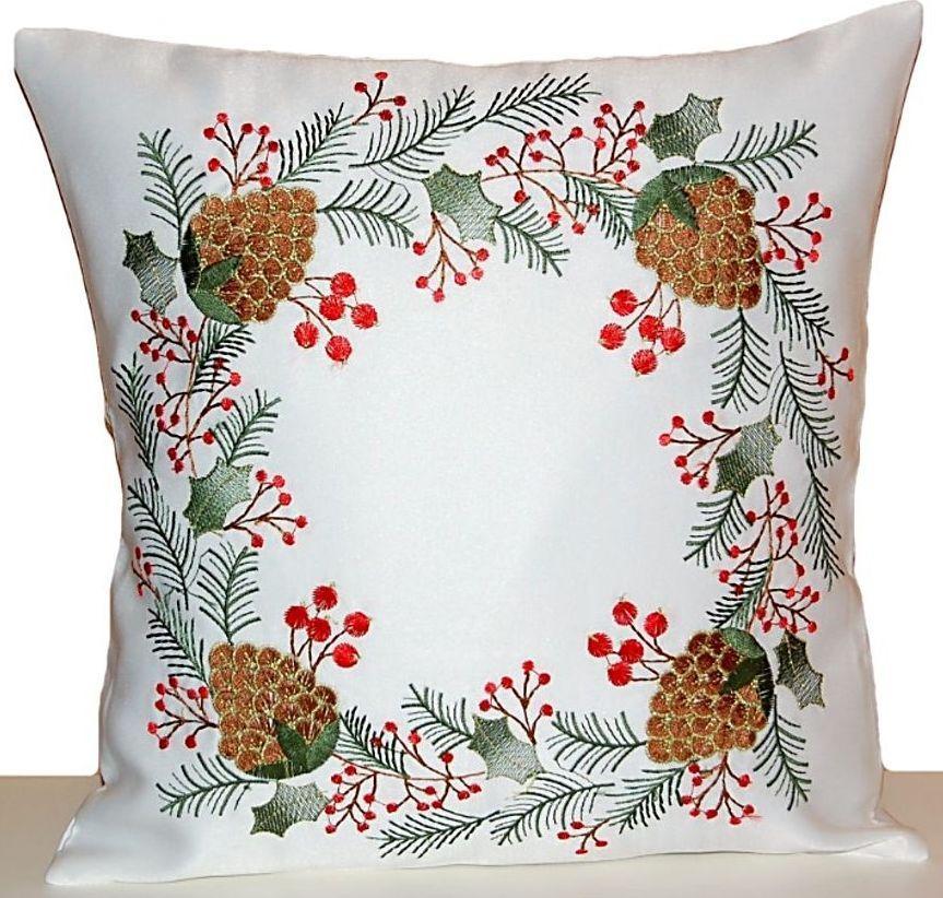kissenh lle 40x40 cm weihnachten wei tannenzapfen braun gold kissen kissenbezug ebay. Black Bedroom Furniture Sets. Home Design Ideas