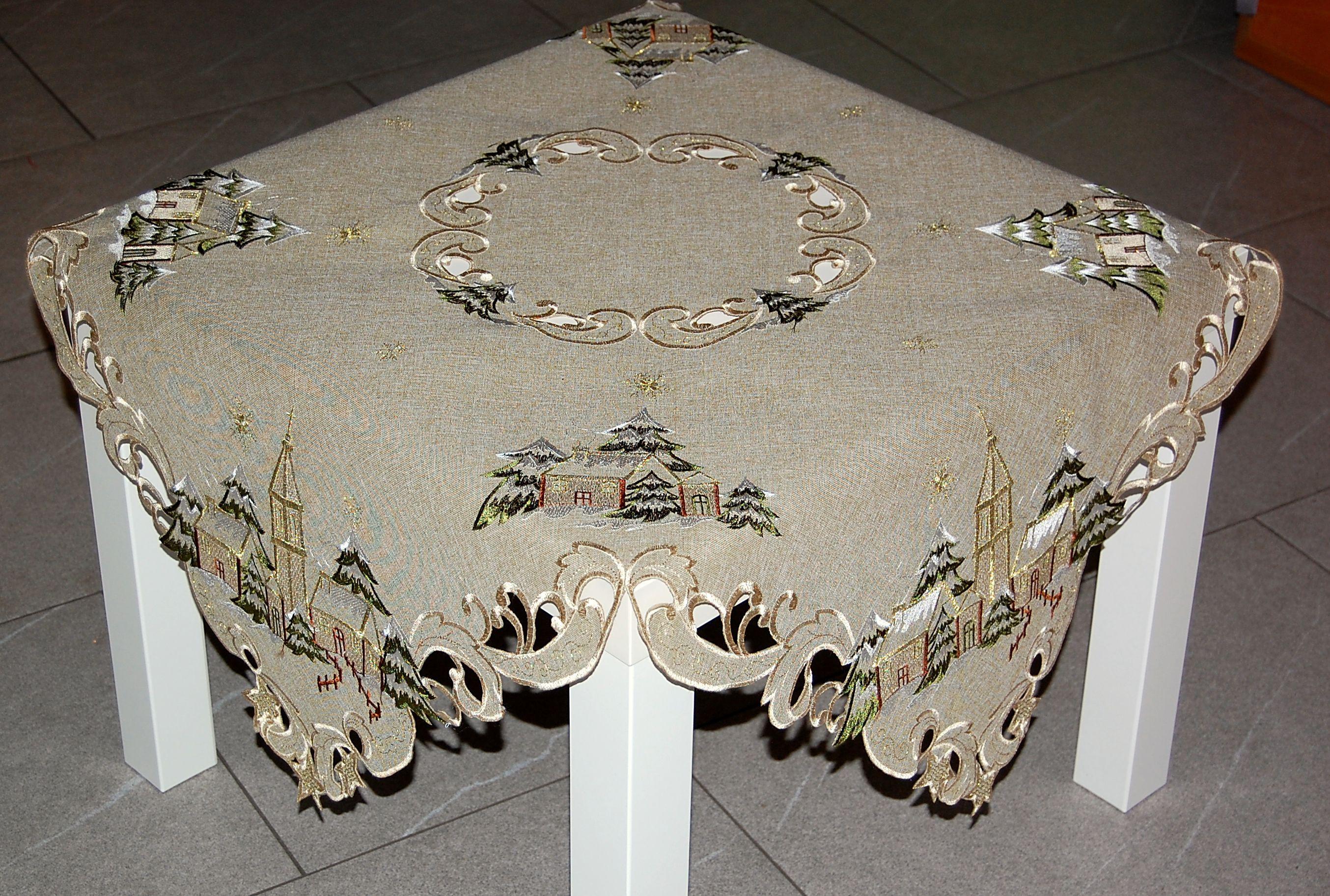 tischdecke weihnachten antik gr n winterlandschaft kirche. Black Bedroom Furniture Sets. Home Design Ideas