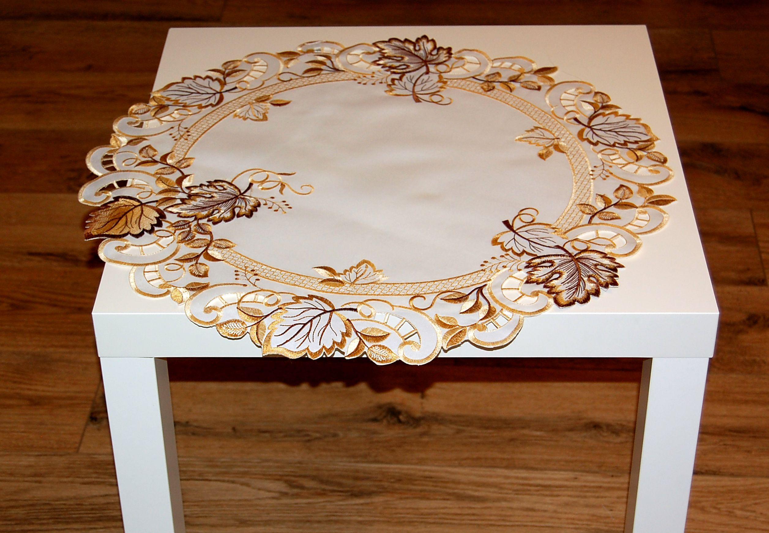 tischdecke herbst wei bl tter braun gestickt tischl ufer mitteldecke deckchen ebay. Black Bedroom Furniture Sets. Home Design Ideas