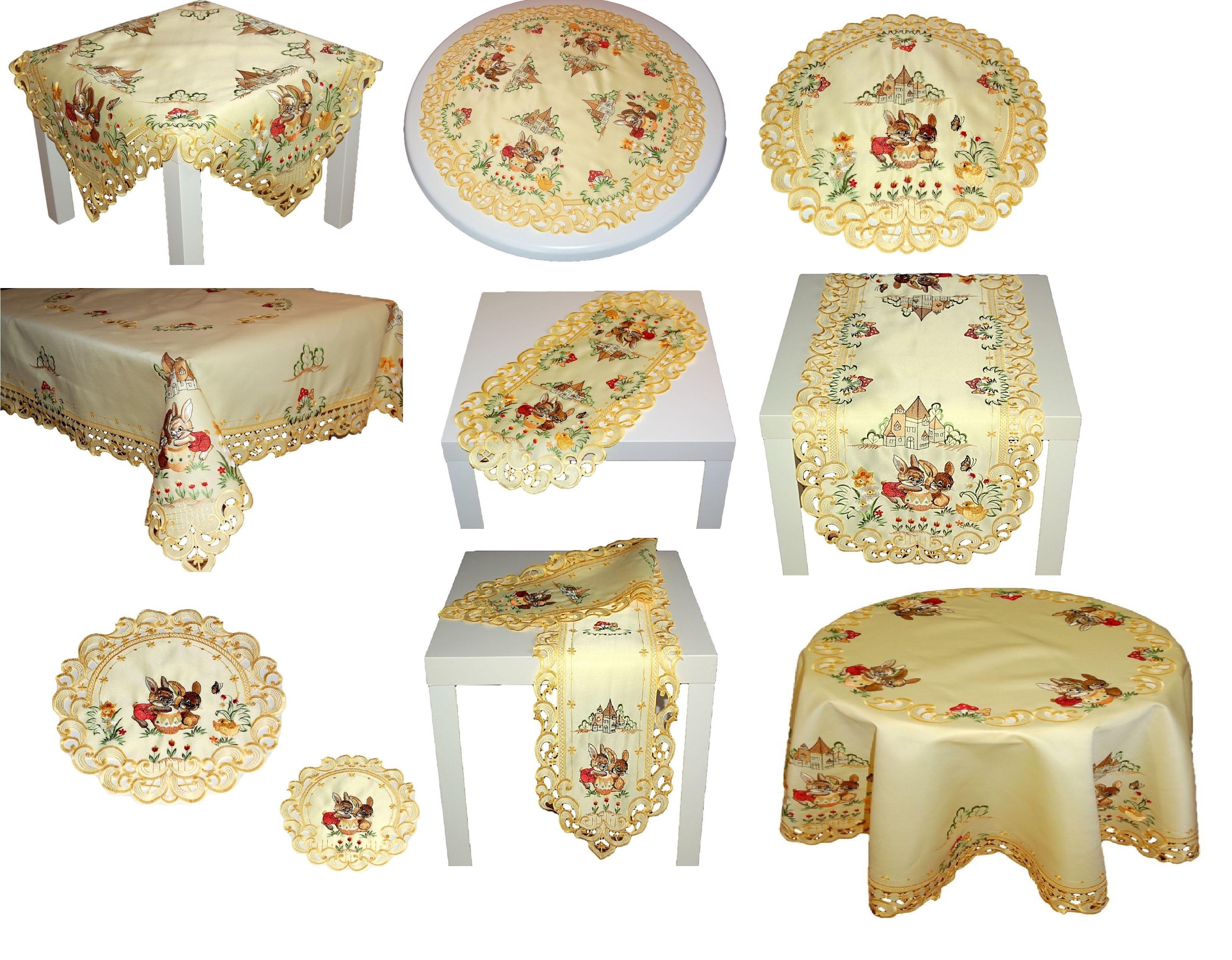 tischdecke ostern gelb osterhase gestickt tischl ufer. Black Bedroom Furniture Sets. Home Design Ideas