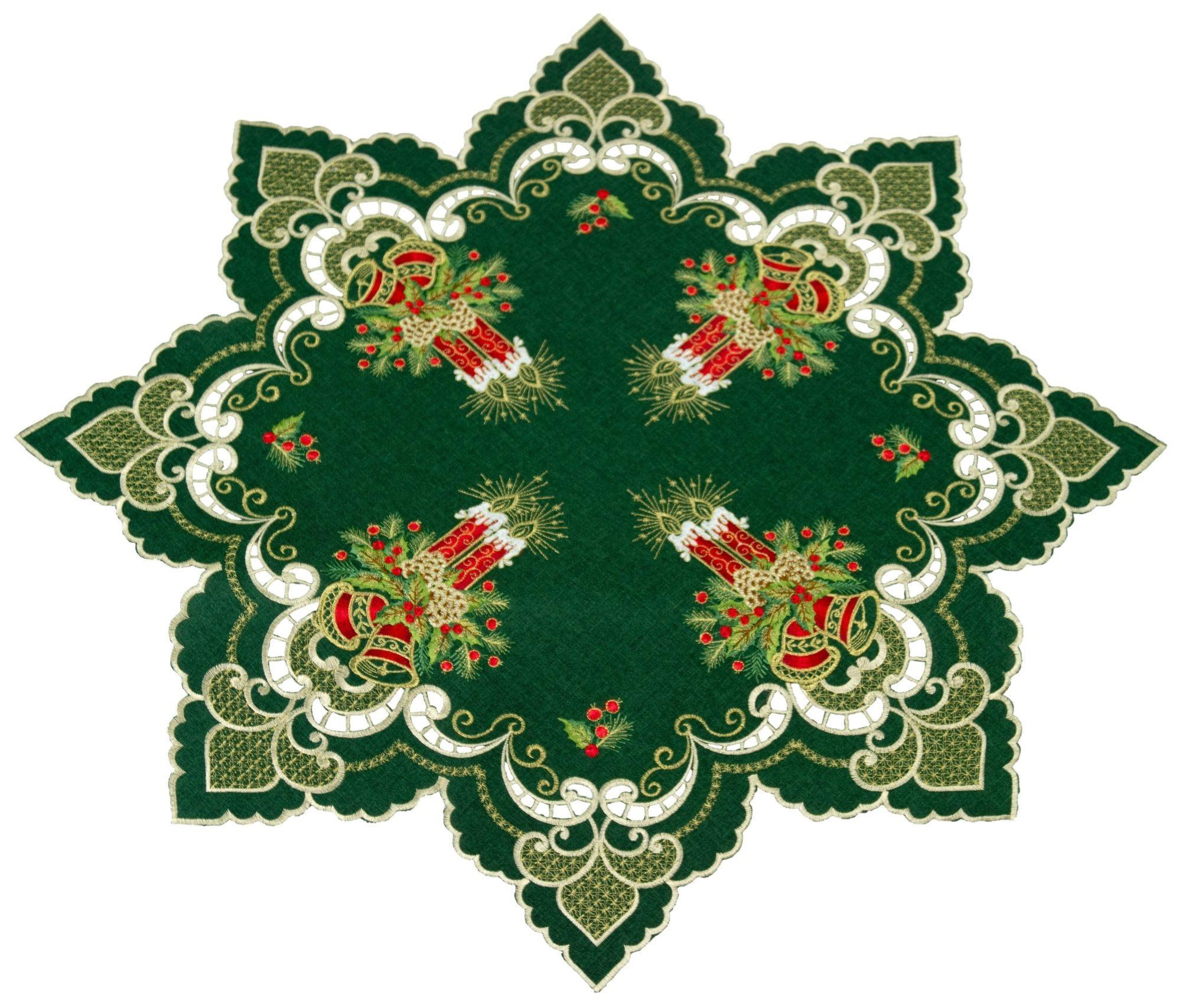 Sterne edle Tischdecke Mitteldecke rund 80 cm Weihnachten TOP