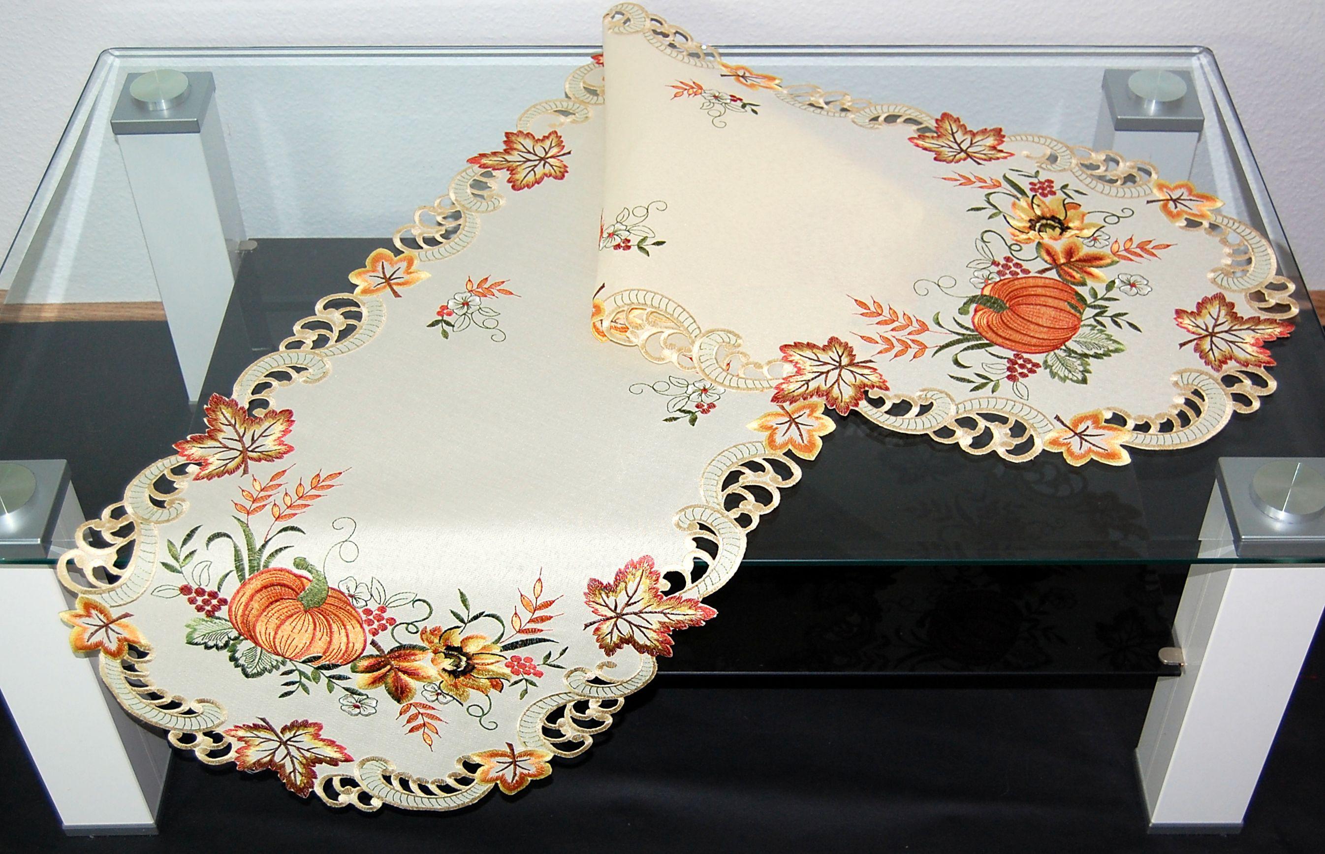 tischdecke creme k rbis bunt gestickt herbst mitteldecke. Black Bedroom Furniture Sets. Home Design Ideas