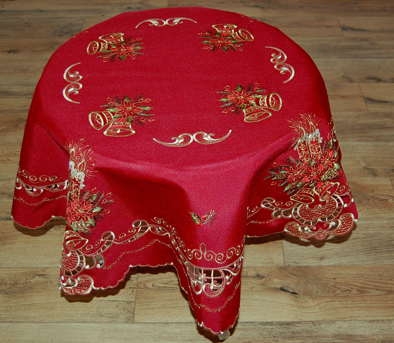 tischdecke rund weihnachten leinenoptik rot kerzen. Black Bedroom Furniture Sets. Home Design Ideas