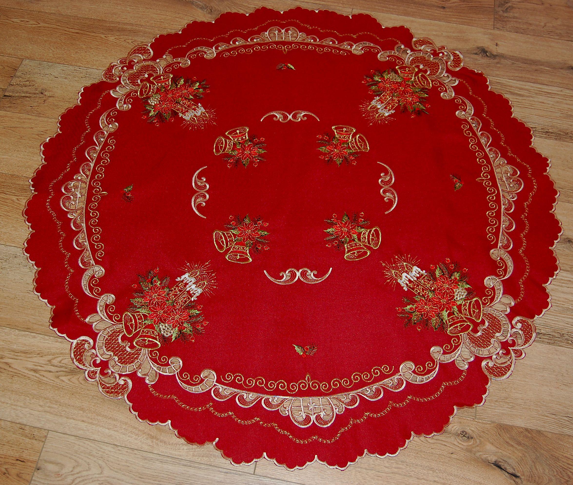 tischdecke rund weihnachten leinenoptik rot kerzen gestickt tischtuch tafeltuch ebay. Black Bedroom Furniture Sets. Home Design Ideas