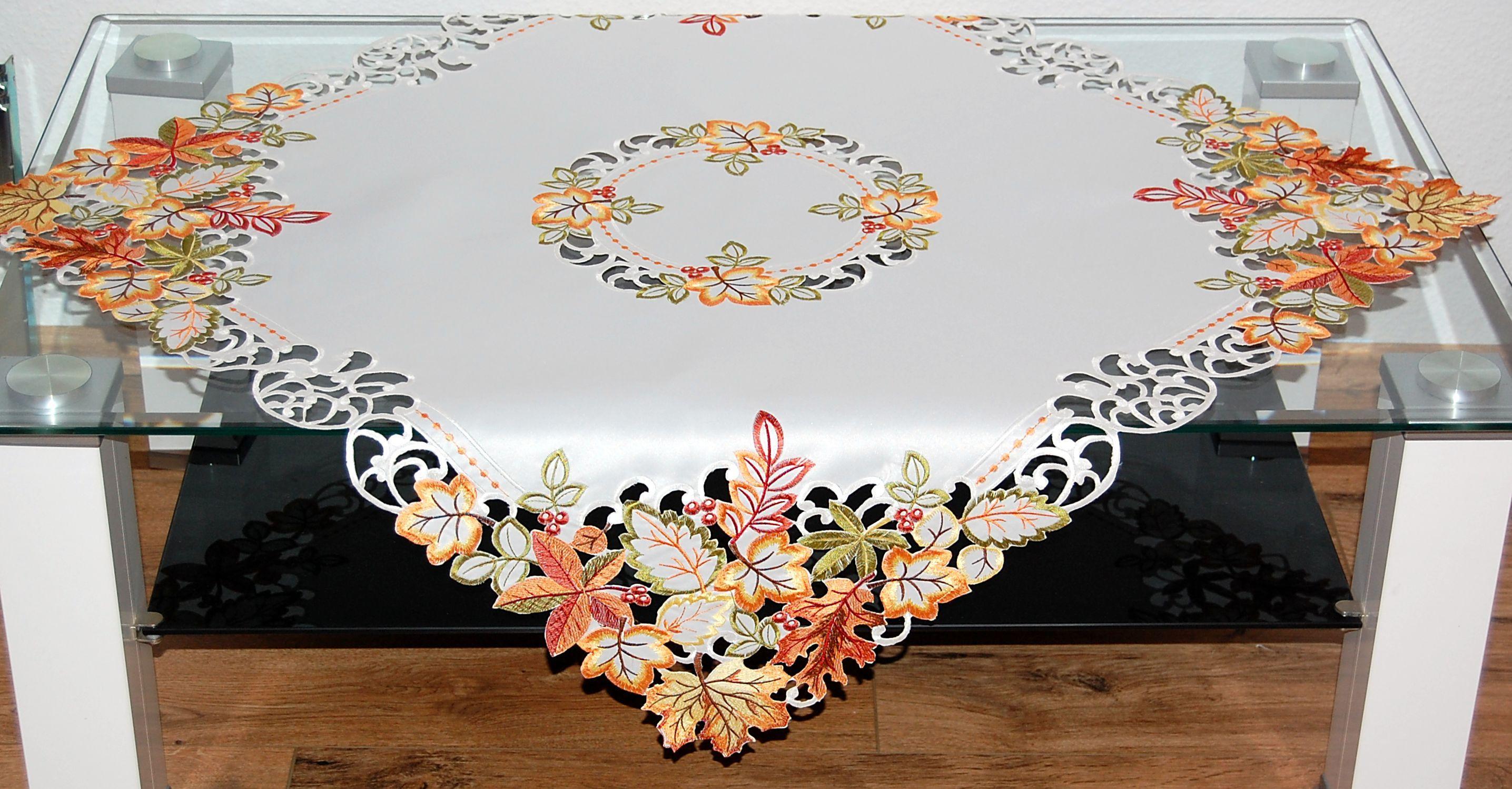 tischdecke herbst wei bl tter bunt gestickt tischl ufer. Black Bedroom Furniture Sets. Home Design Ideas