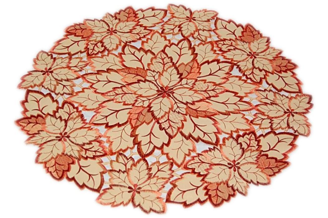 tischdecke rund 60 cm vanille bl tter terrakotta herbst deckchen zierdecke. Black Bedroom Furniture Sets. Home Design Ideas