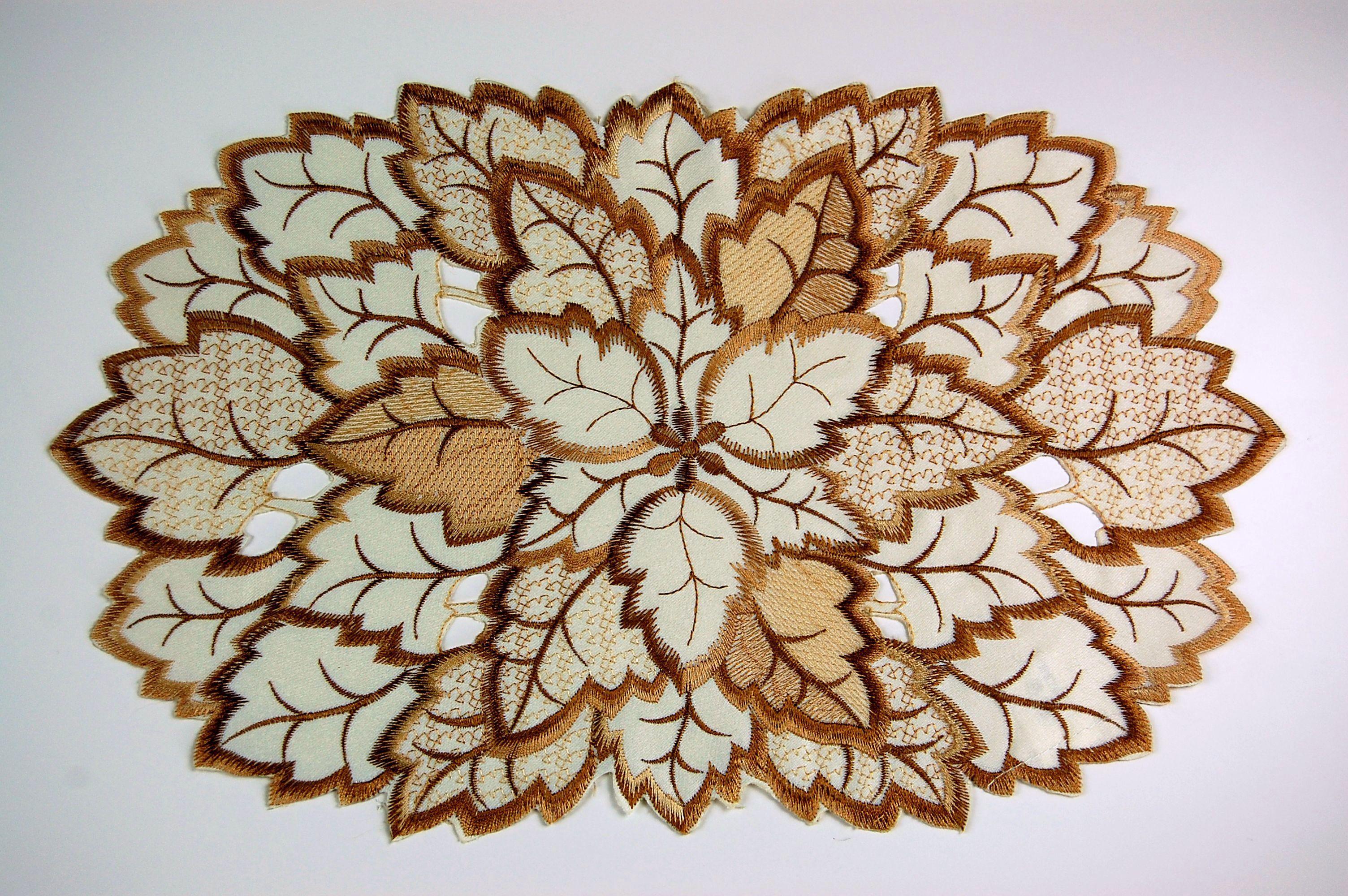 tischdecke beige bl tter blatt braun gestickt herbst. Black Bedroom Furniture Sets. Home Design Ideas