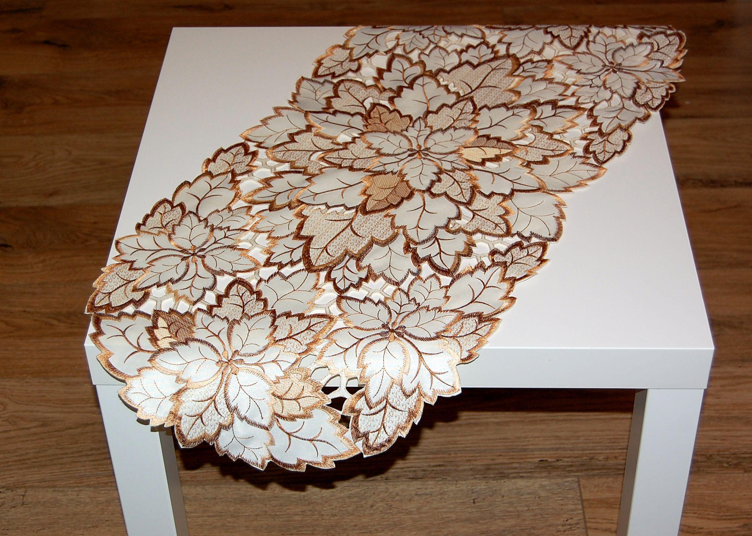 tischdecke beige bl tter braun herbst tischl ufer mitteldecke deckchen l ufer ebay. Black Bedroom Furniture Sets. Home Design Ideas
