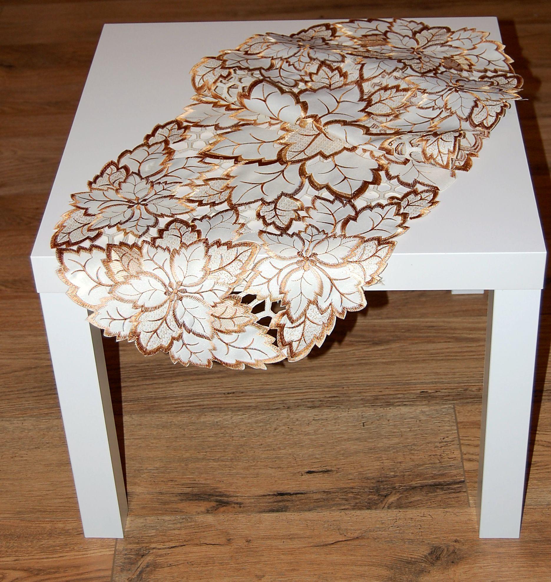 tischdecke beige bl tter blatt braun gestickt herbst tischl ufer mitteldecke ebay. Black Bedroom Furniture Sets. Home Design Ideas