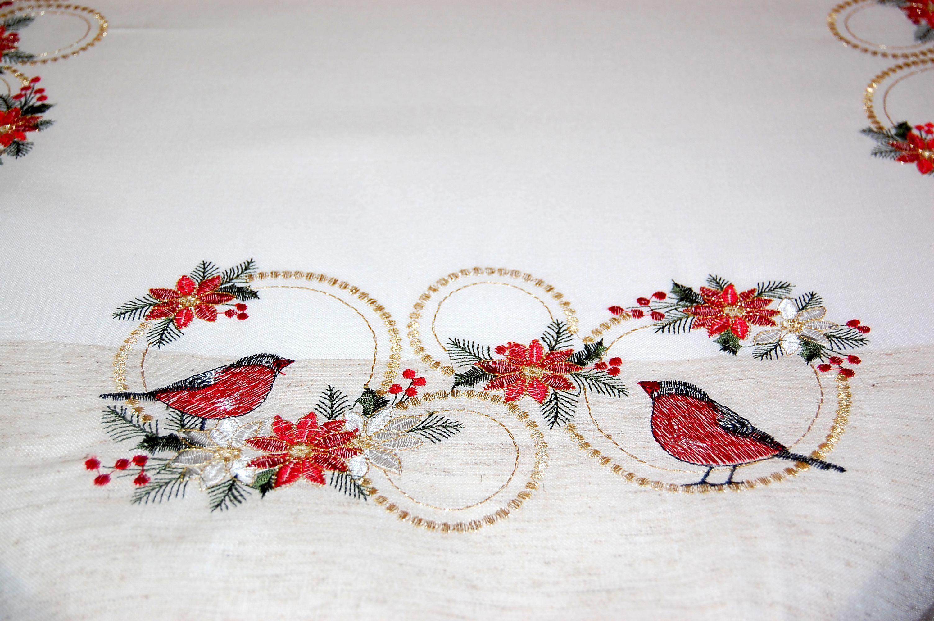tischdecke 85x85 cm weihnachten leinenoptik natur v gel weihnachtsstern rot gold ebay. Black Bedroom Furniture Sets. Home Design Ideas