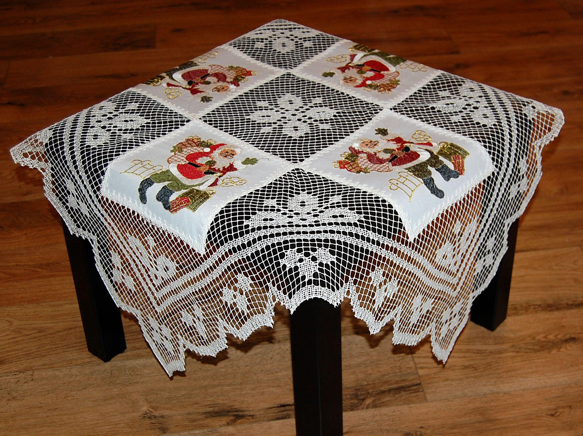 Tischdecke WEIHNACHTEN Rustikal Weiß Weihnachtsmann Decke Spitze 85x85