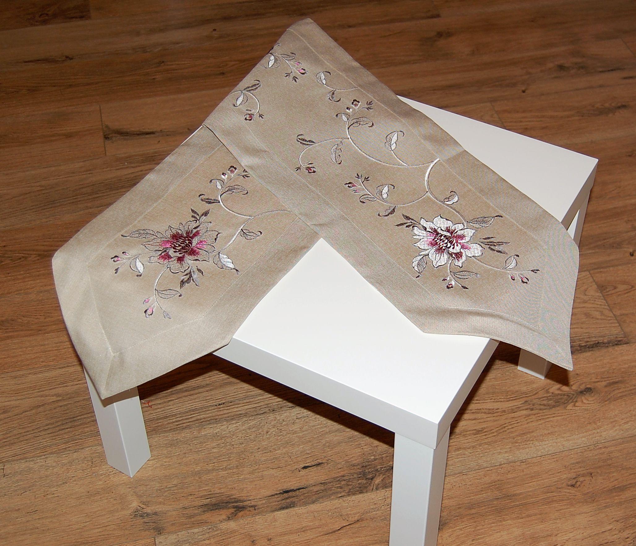 tischdecke beige leinenoptik blume silbergrau pink. Black Bedroom Furniture Sets. Home Design Ideas