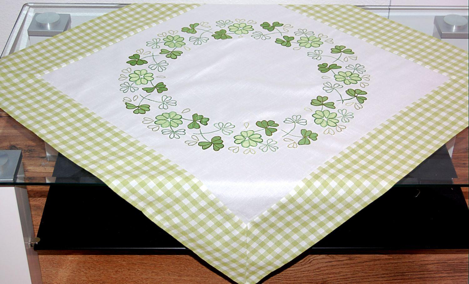 karierte Tischdecke Mitteldecke mit ***Stickerei*** Landhausküche