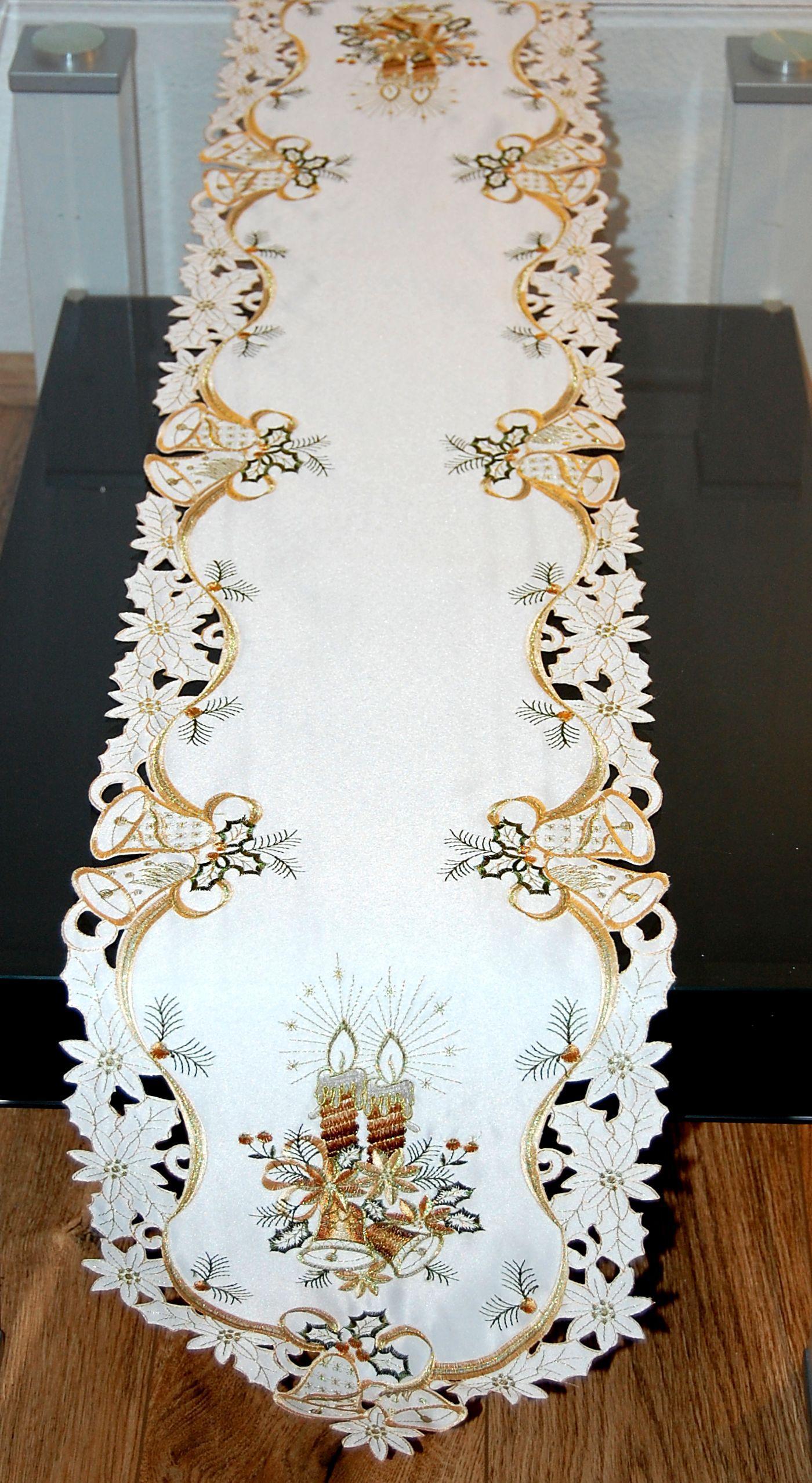 tischdecke weihnachten champagner kerze glocke gr n gold. Black Bedroom Furniture Sets. Home Design Ideas