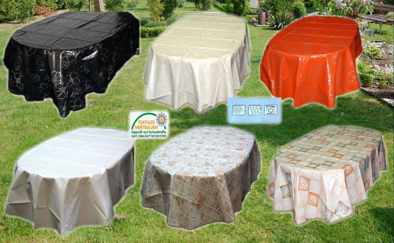 wachstuch tischdecke oval m saum abwaschbar gartendecke. Black Bedroom Furniture Sets. Home Design Ideas