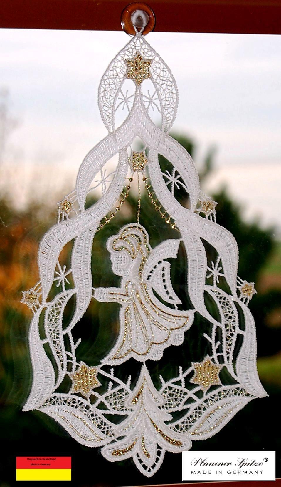 Weihnachtsbild Fensterbild Engel Stickerei 18,5 x 14 cm weiß