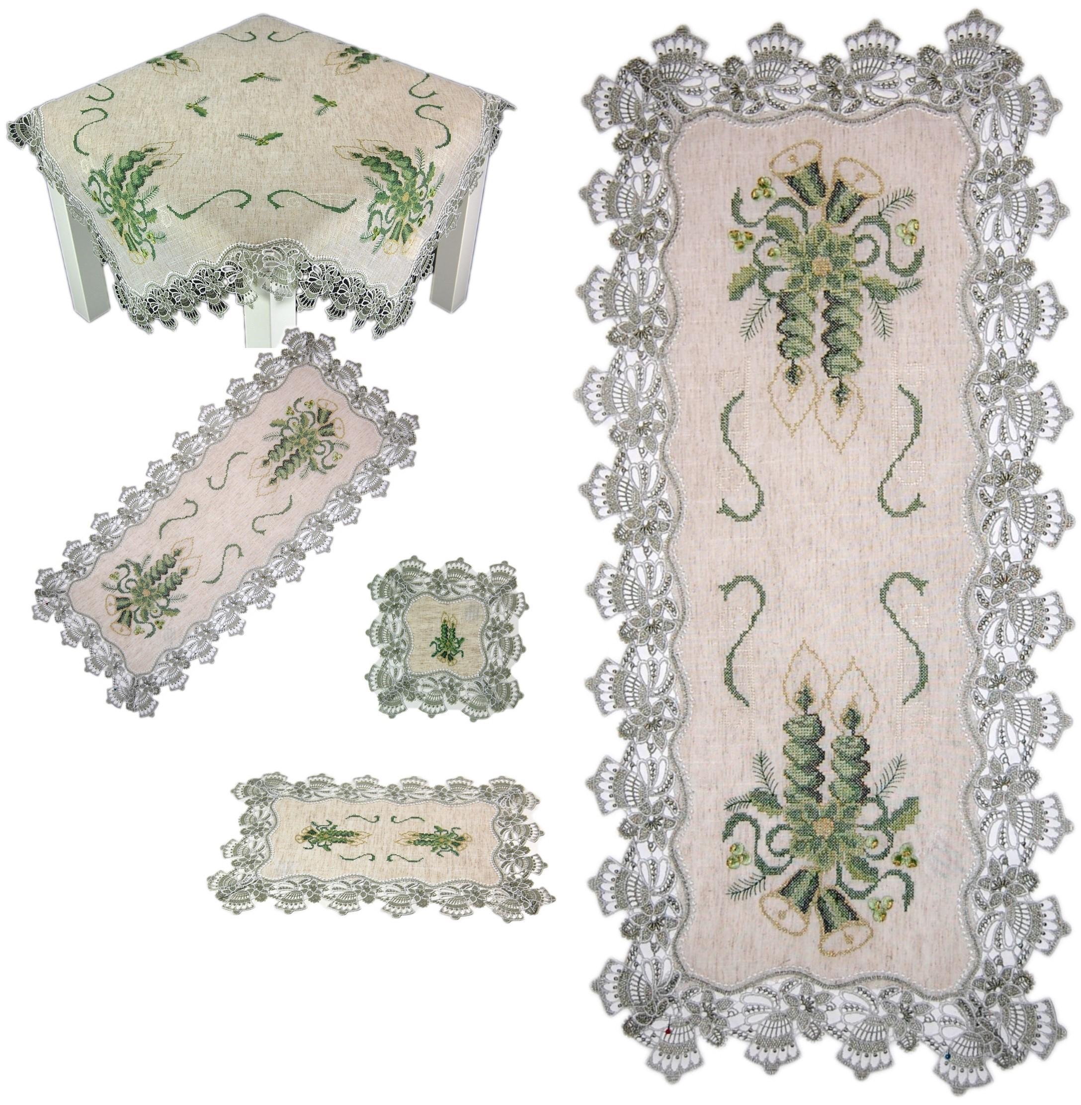 Tischdeckchen Tischdecke Deckchen WEIHNACHTEN 85x85cm STERNE Mitteldecke LEINEN